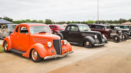 reminisce: AUSTIN, TXUSA - April 17, 2015: Cars at the Lonestar Round Up, a celebration of 1963-and-earlier American hot rods and custom cars. Editorial