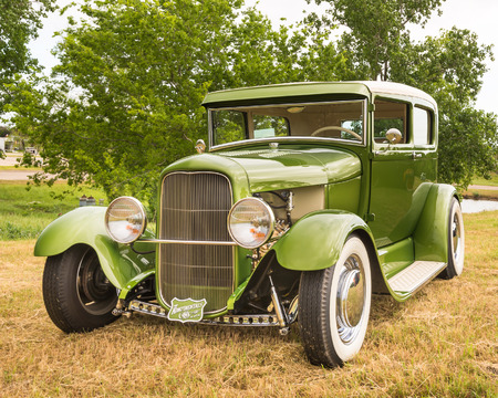 round rods: AUSTIN, TXUSA - April 17, 2015: A 1929 Ford at the Lonestar Round Up, a celebration of 1963-and-earlier American hot rods and custom cars.