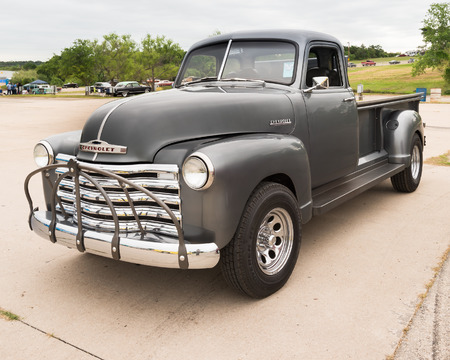 reminisce: AUSTIN, TXUSA - April 17, 2015: A 1953 Chevrolet truck at the Lonestar Round Up, a celebration of 1963-and-earlier American hot rods and custom cars. Editorial