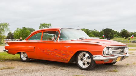 reminisce: AUSTIN, TXUSA - April 17, 2015: A 1960 Chevrolet Biscayne at the Lonestar Round Up, a celebration of 1963-and-earlier American hot rods and custom cars. Editorial