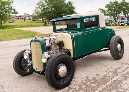 custom car: AUSTIN, TXUSA - April 17, 2015: A 1931 Ford car at the Lonestar Round Up, a celebration of 1963-and-earlier American hot rods and custom cars.