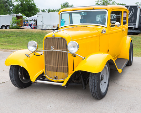 tudor: AUSTIN, TXUSA - April 17, 2015: A 1932 Ford Tudor car at the Lonestar Round Up, a celebration of 1963-and-earlier American hot rods and custom cars.