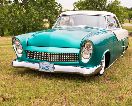 custom car: AUSTIN, TXUSA - April 17, 2015: A 1952 Ford Victoria car at the Lonestar Round Up, a celebration of 1963-and-earlier American hot rods and custom cars. Editorial