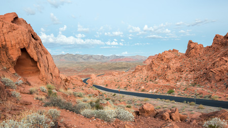 chaparral: Dawn illuminates the Muddy Mountains near the East Entrance, Valley of Fire State Park, Nevada. Stock Photo