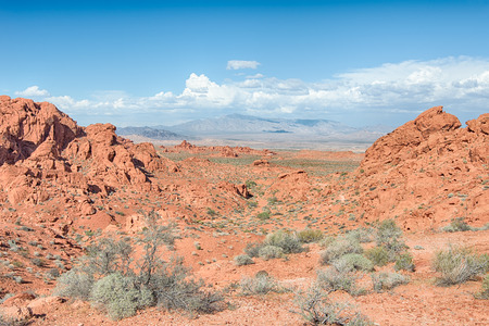 Clouds hover over the Virgin Mountains, on the Old Arrowhead Historic Trail, Valley of Fire State Park, Nevada.