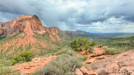 Storm over Kolob Canyons towards Eagle Crags, Timber Creek Overlook Trail, Zion National Park, Utah.
