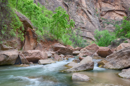 Cascades along the Virgin River on the Riverside Walk trail, at Zion National Park, Utah.