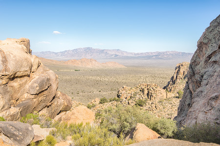 rugged terrain: View from the Notch on Teutonia Peak Trail, in the Mojave National Preserve, California.