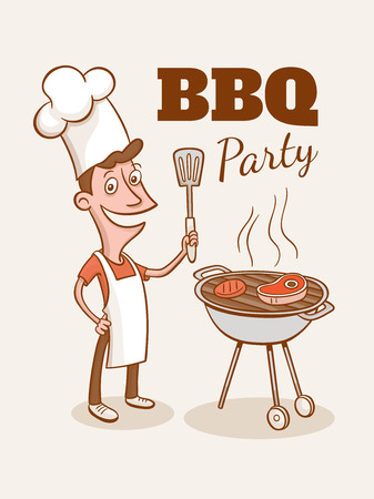 Vintage BBQ party illustration. A smiley man cooking a steak and a burger in a barbecue. Vector illustration in cartoon style.