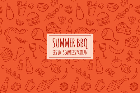 Seamless pattern with hand drawn doodle BBQ icons set. Vector illustration with summer barbecue elements collection. Cartoon meals, fish, drinks and ingredients on red background. Иллюстрация
