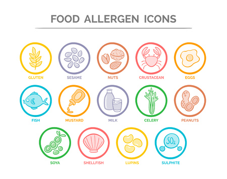 Colorful food safety allergy icons set. 14 food ingredients that must be declared as allergens in the EU. Reklamní fotografie - 76951825