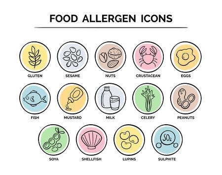 Hand getrokken voedselveiligheid allergie pictogrammen instellen. 14 voedselingrediënten die als allergenen in de EU moeten worden verklaard.