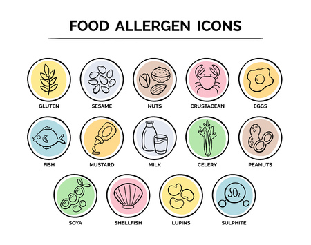 Hand drawn food safety allergy icons set. 14 food ingredients that must be declared as allergens in the EU. Illustration