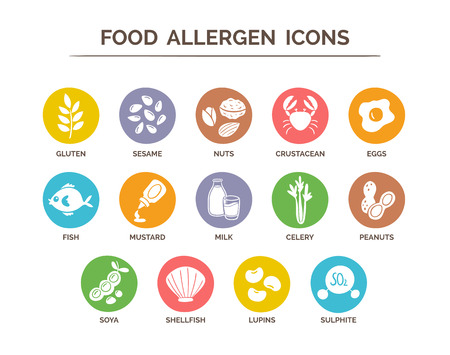 Food safety allergy icons set. 14 food ingredients that must be declared as allergens in the EU.