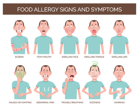 Cartoon character showing the most common food allergy signs and symptom. Eczema, abdominal pain, dizziness, vomiting and diarrhea. Иллюстрация