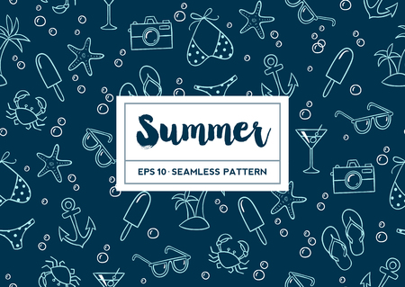 Hand drawn summer elements and bubbles seamless pattern. Vector illustration.