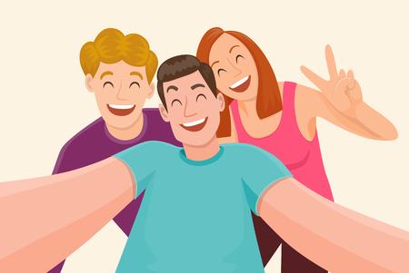 Groupe de trois amis prenant une selfie et rire, concept d'amitié et de jeunesse, illustration vectorielle.