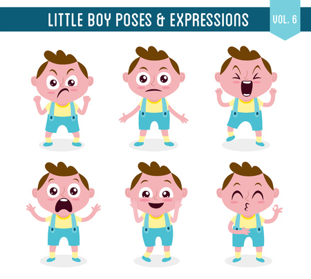 Character design set of a cute little white boy in different poses. Cartoon style illustration, isolated on white background. Body gestures and facial expressions. Vector illustration.