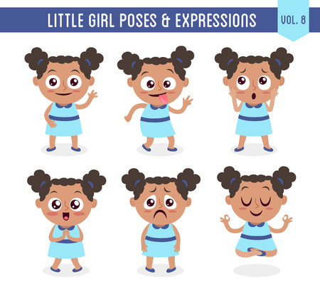 Character design set of a cute little black girl in different poses. Cartoon style illustration, isolated on white background. Body gestures and facial expressions. Vector illustration.