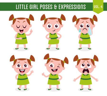 Character design set of a cute little white girl in different poses. Cartoon style illustration, isolated on white background. Body gestures and facial expressions. Vector illustration. Vectores