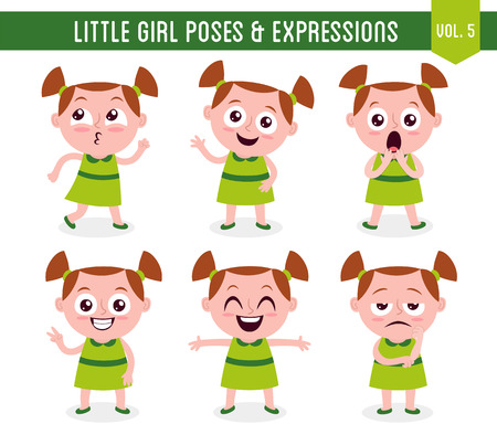 Character design set of a cute little white girl in different poses. Cartoon style illustration, isolated on white background. Body gestures and facial expressions. Vector illustration. Vettoriali