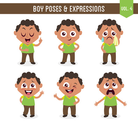 Character design set of a cute black boy in different poses. Cartoon style illustration, isolated on white background. Body gestures and facial expressions. Vector illustration. Set 4 of 8.