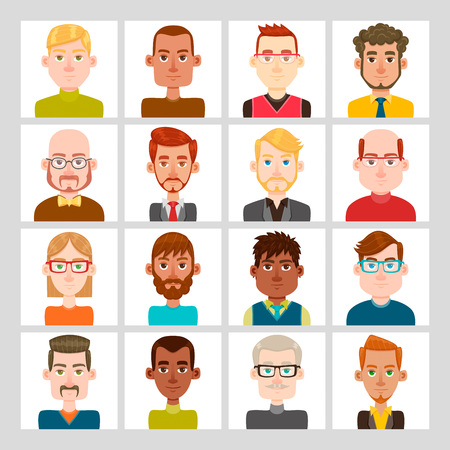 16 male avatar set. Vector illustration. Hair and glasses are isolated and interchangeables.
