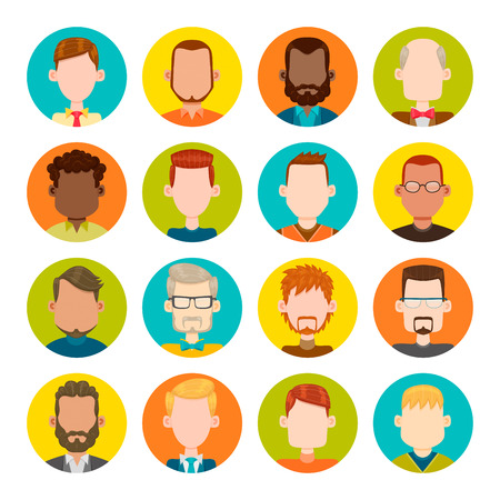 male symbol: 16 colorful round icons with male avatars. Vector illustration. Hair and glasses are isolated and interchangeables.