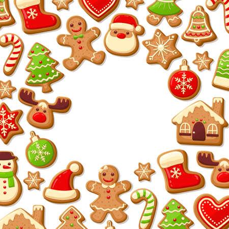 途中で編集可能な空白のジンジャーブレッド クッキー背景。クリスマスのグリーティング カード テンプレート。ベクトルの図。