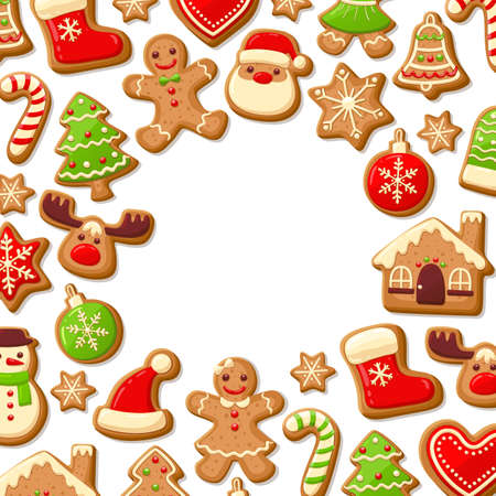 Gingerbread cookies background with an editable blank space in the middle. Christmas greeting card template. Vector illustration.