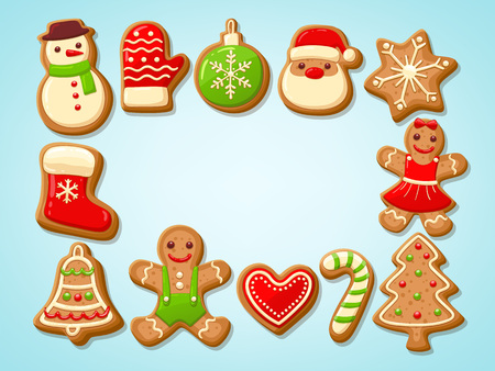 Christmas gingerbread cookies making a rectangular frame. Vector illustration. Banco de Imagens - 90624112