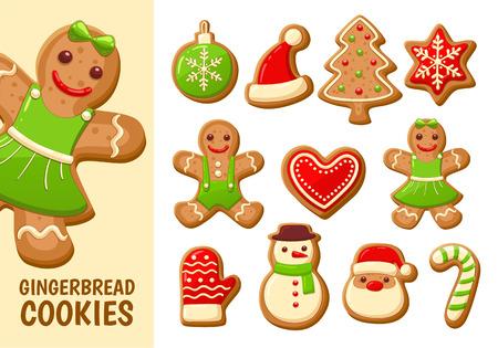 クリスマスのためのかわいいジンジャーブレッド クッキーのセットです。白い背景上に分離。ベクトルの図。  イラスト・ベクター素材