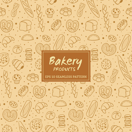 Hand drawn seamless pattern of bread and bakery products. Baked goods background. Vector illustration.