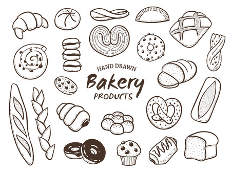 Hand drawn breads and bakery goods set. Outlined design elements isolated on white. Vector illustration.
