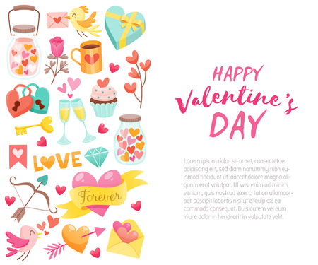 Template for Valentines Day celebration with design elements and text. Collection of isolated Valentine Day objects. Cute birds, hearts, sweets, gifts and more. Illustration