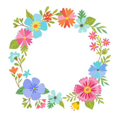 Colorful floral wreath design on white background. Blank space in the middle for adding your own text. Vector illustration. Illustration
