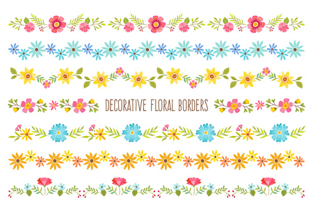 Set Of Colorful Decorative Floral Borders Perfect For Create Stunning Decorative Designs For Borders