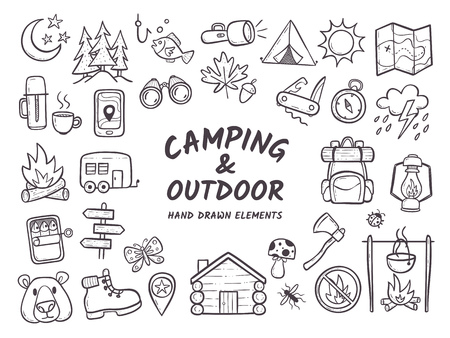 Hand drawn camping and hiking elements, isolated on white background. Cute background full of icons perfect for summer camp flyers and posters. Outlined vector illustration. Vettoriali