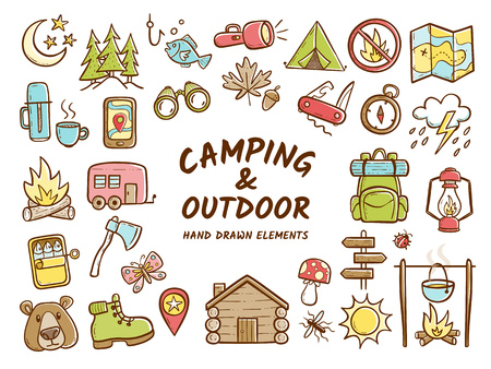 Hand drawn camping and outdoor recreation elements, isolated on white background. Cute background full of icons perfect for summer camp flyers and posters. Vector illustration. Illustration