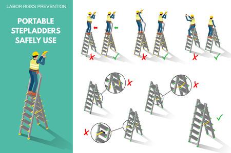 携帯用脚立を安全に使用することに関する労働リスクの防止。白い背景に分離された等角投影スタイルのシーン。ベクターの図。