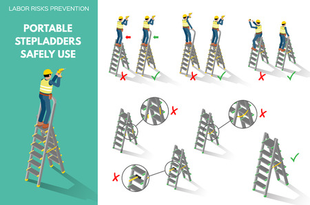 Labor risks prevention about using portable stepladders safely. Isometric style scenes isolated on white background. Vector illustration. Vettoriali