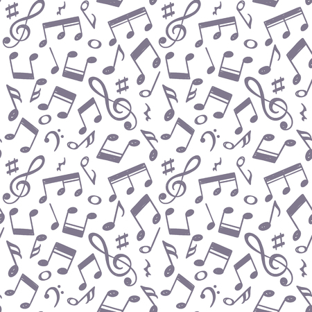 Hand drawn music notes vector illustration. Doodle music icons. Vector illustration.