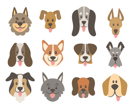 Dog faces collection. Cute cartoon dog faces with their tongue outside. Avatar icon set. Vector illustration.
