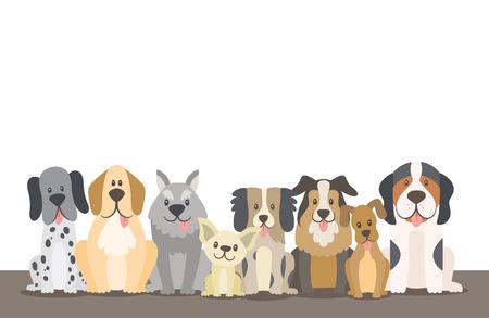Manada de perros ilustración de fondo con espacio en blanco editable. Perros sentados en posición de vista frontal. Ilustración de vector.