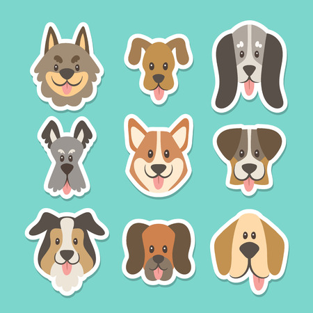 Cute sticker collection with different types of dogs in cartoon style. Vector illustration. Illustration