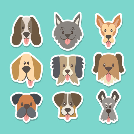 Cute sticker collection with different dog breeds in cartoon style. Vector illustration. Illustration