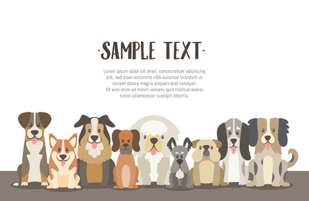 Herd of dogs background illustration with sample text in the top. Sat dogs in front view position. Vector illustration.