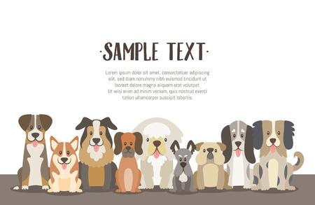 Ilustración de fondo de manada de perros con texto de ejemplo en la parte superior. Perros sentados en posición de vista frontal. Ilustración vectorial.