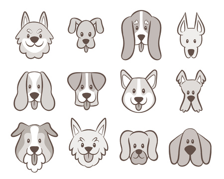 Hand drawn dog faces collection. Avatar icon set isolated on white. Vector illustration. Ilustración de vector