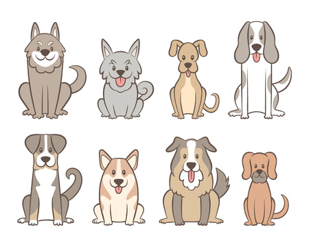 Collection of different kinds of dogs isolated on white background. Hand drawn dogs sitting in front view position. Vector illustration. Ilustração